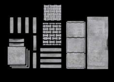 Set of pavement modular sett 3D Model