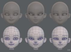 Children Head V01 3D Model