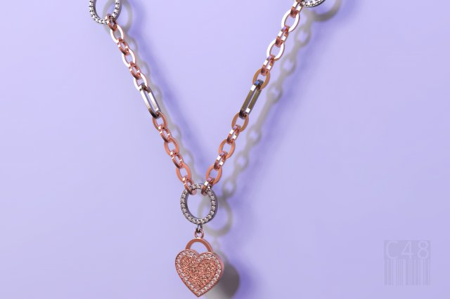 Heart pendant and chain 3D Model