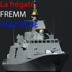 French Navy FREMM Frigate D650 Aquitaine 3D Model