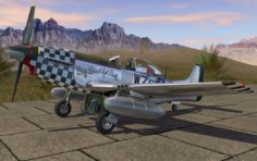 Mustang P-51 D on the runway 3D Model