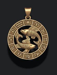 Zodiac pisces fish lite 3D Model