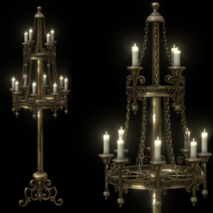 Big Brass Candle Stand 3D Model
