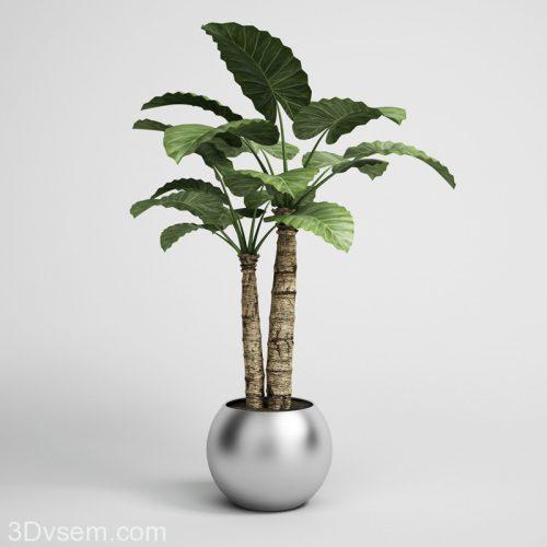 Palm Tree in Chrome Flower Pot 3D Model - 3DHunt co