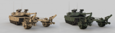 M1A2 Abrams with Mine Trawl 3D Model
