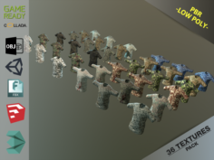 Camouflaged Shirts 3D Model