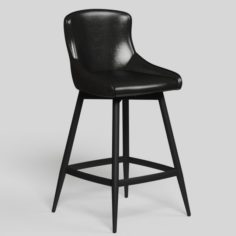 Leather Black Bar Stool high detail Swivel 3D Model