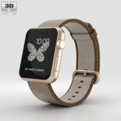 Apple Watch Series 2 42mm Gold Aluminum Case Toasted Coffee-Caramel Woven Nylon 3D Model
