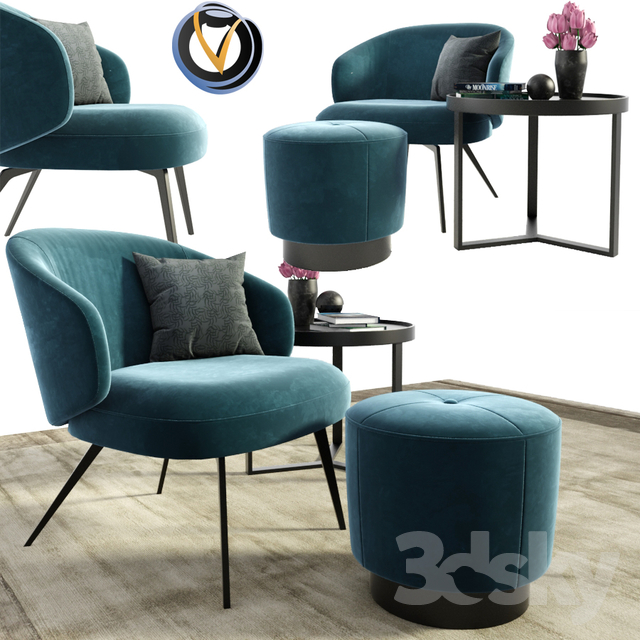 Lema Bice Occasional Arm Chair With Pouf and Table                                      3D Model