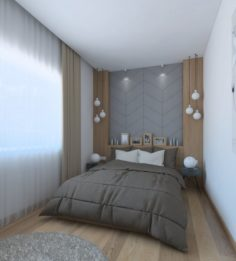 Nice bedroom with wood and leather decor 3D Model
