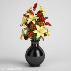 Flower Bouquet with flower pot 3d model