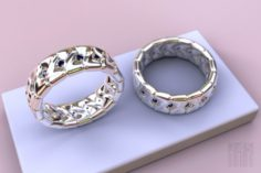Women ring with stones 3D Model
