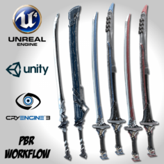Sci-fi Swords Pack 2 3D Model