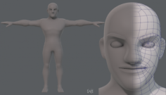 Base mesh man character V10 3D Model