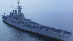 USS North Carolina BB-55 with F4F 3D Model