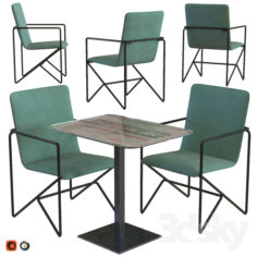 Mobeledom Holland Mint Chair and Table for Restaurant                                      3D Model