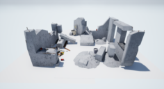Little KIT debris walls LOW POLY 3D Model