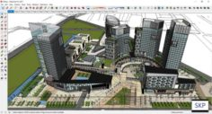 Sketchup Commercial and office residential complex D8 3D Model