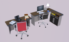 Collection Office Desks Chehoud Collection Gray and Wood 3D Model