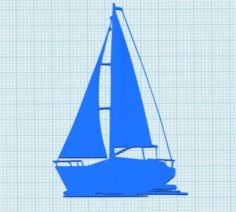 Sailing boat for wall decoration 3D Model
