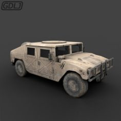 DC humvee Low Poly with Full textures 3D Model