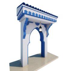 Traditional Moroccan Door Chefchaouen City 3D Model