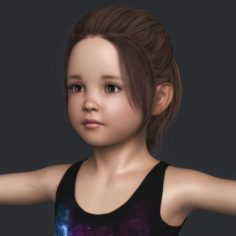 Realistic Cute Child Girl 3D Model