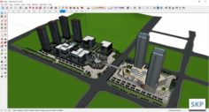 Sketchup residential and commerical and office complex C3 3D Model