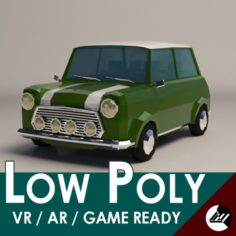 Low-Poly Cartoon Small City Car 3D Model
