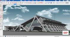 Sketchup bus terminal C4 3D Model