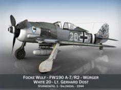 Focke Wulf – FW190 A-7 – White 20 3D Model