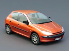 Orange 206 Hatchback 3D Model