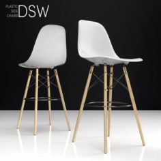 Eames DSW Bar plastic side chairs 3D Model