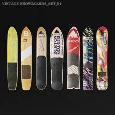 Burton vintage snowboards wall decor 3D Model