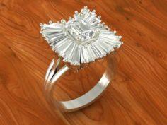 Cluster Baguette ring 3D Model