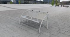 Bench from stainless steel 3D Model