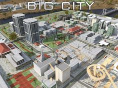 BIG CITY SCENE – Low Poly Mega City Roads Building Park Area 3D Model