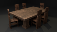 MEDIEVAL TABLE AND CHAIR SET 3D Model