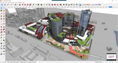 Sketchup Commercial and office complex C3 3D Model