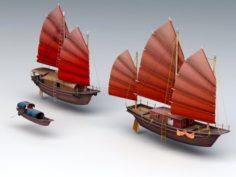 Junk Ship Boat 3D Model