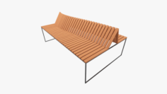 Wooden and Metal Bench 3D Model