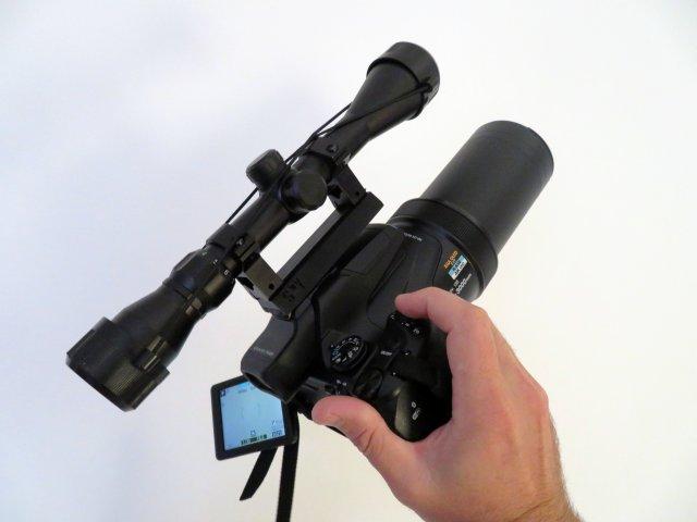 Rifle Scope to Hot Shoe – Nikon P1000 3Dprint adapter Free 3D Model
