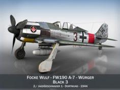 Focke Wulf – FW190 A7 – Black 3 3D Model