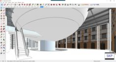 Sketchup Commercial and office complex C4 3D Model