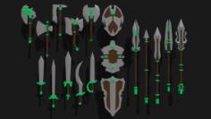 Pack fantasy weapons 3D Model