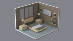 Isometric Low Poly Bedroom Free 3D Model