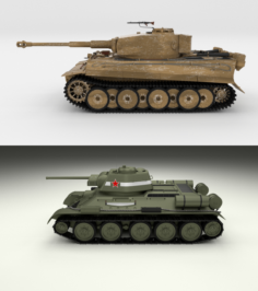 T34-76 Tiger Tank Early Pack 3D Model