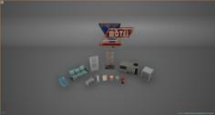 Exterier Motel fullpack 3D Model