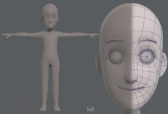 Base mesh boy character V07 3D Model