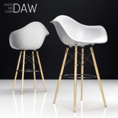 Eames DAW Bar plastic side chairs 3D Model
